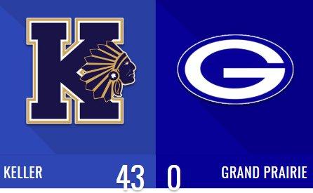 FINAL: Keller 43, Grand Prairie 0 Stats: #txhsfb @KHSIndianNation @GPHSGophers Photo