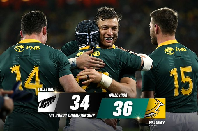 🏉 @Springboks do the unthinkable and survive in Wellington! MATCH CENTRE: #NZLvRSA Photo