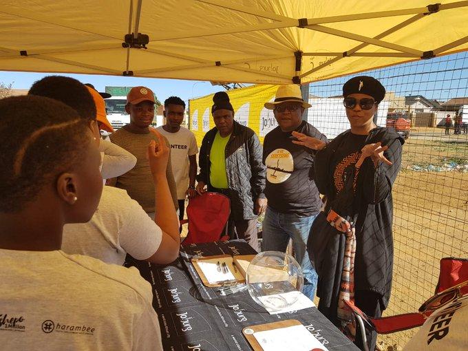 Global Citizen preparing volunteers for registration of participants in Bramfischerville #AReSebetseng #GlobalCitizenFestivalSA ^TK Photo