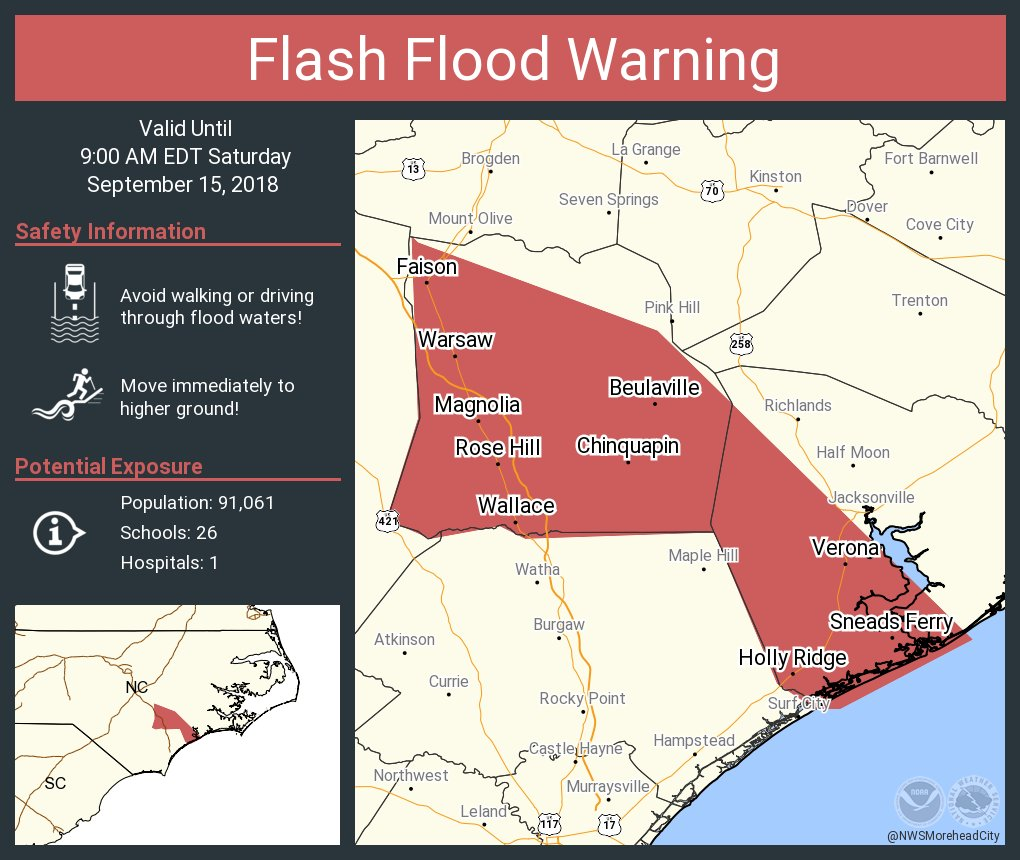 Nws Newport Morehead On Twitter Flash Flood Warning Including