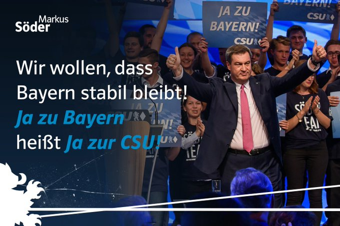 Starke Rede unseres Ministerpräsidenten @Markus_Soeder! Wer will, dass Bayern stabil und leistungsstark bleibt, muss am 14. Oktober mit beiden Stimmen CSU wählen! #JAzuBayern #CSUPT18 Foto