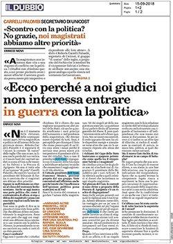 """""""Ecco perchè a noi giudici non interessa entrare in guerra con la politica"""". Così Roberto Carrelli Palombi su """"Il Dubbio"""" di oggi. #politica #magistratura #magistrati  http:// www.unicost.eu/news/2018/09/ecco-perche-a-noi-giudici-non-interessa-entrare-in-guerra-con-la-politica.aspx  - Ukustom"""
