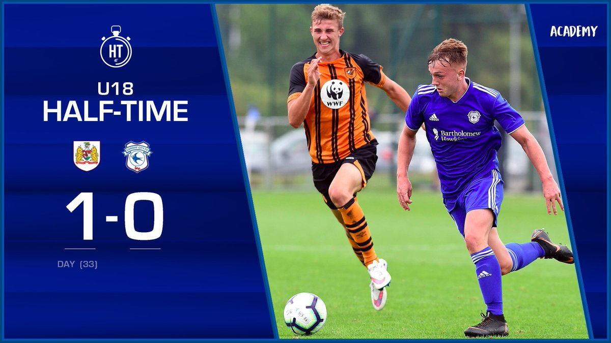 U18 | HALF-TIME: @BristolCity 1-0 @CardiffCityFC. Marcus Days goal is the difference between the two sides at the break. #CityAsOne 🔵⚽️🔵⚽️