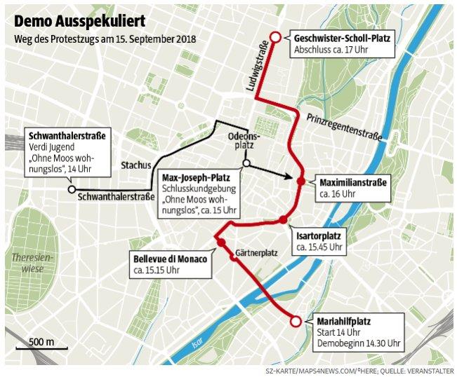 Die Karte zeigt die Hauptroute der #ausspekuliert-Demo (rot) und die Route der Verdi-Jugend (schwarz). Um 17 Uhr findet die große Abschlusskundgebung am Geschwister-Scholl-Platz statt. Foto