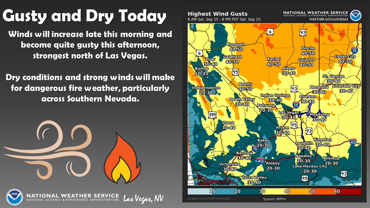 Gusty and dry today, beware of elevated fire danger and follow all burn restrictions! #nvwx #cawx #azwx