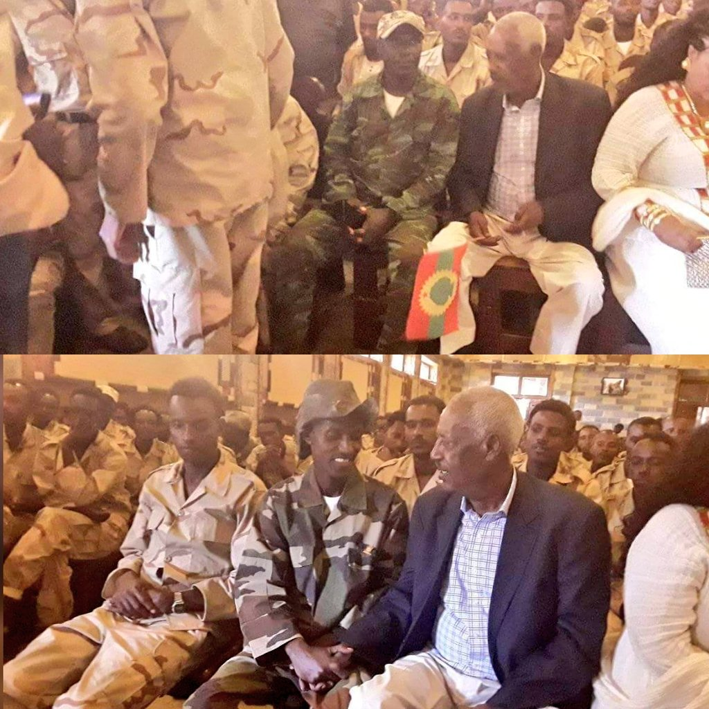 "Ethiopia24 News on Twitter: ""TPLF's mastermind, Aboy Sebhat Nega, welcomes OLF soldiers and holds OLF flag in Mekelle, Tigray. #Ethiopia #Oromia… """