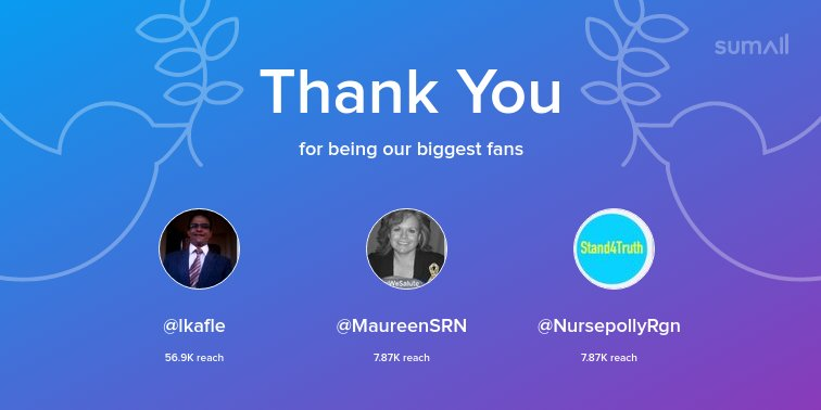 Our biggest fans this week: @lkafle, @MaureenSRN, @NursepollyRgn. Thank you! via https://t.co/XpuXtN8U2O https://t.co/PKY5Y7Q1ZW