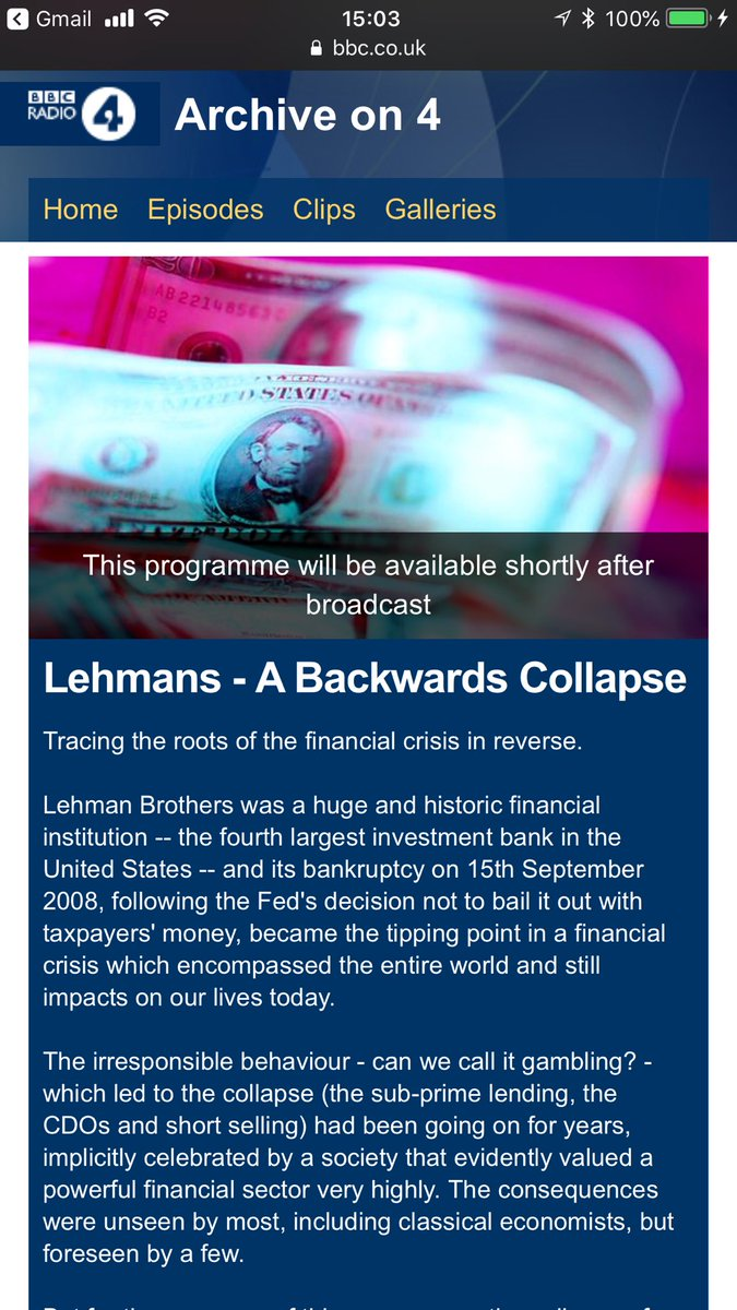 Tonight at 8pm London time: Lehman Brothers collapse from the BBC archives bbc.co.uk/programmes/b0b…. I helped with the selection of items. @BBC @rethinkecon @Renegade_Inc @AnnPettifor