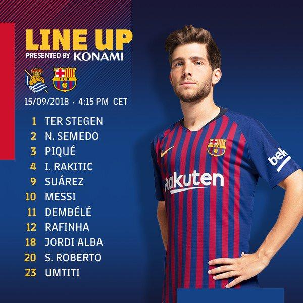 #Barcelona escalado: 🔵🔴 Ter Stegen; Semedo, Piqué, Umtiti, Alba; Rakitic, Sergi Roberto, Rafinha; Messi, Dembélé e Suárez. Photo