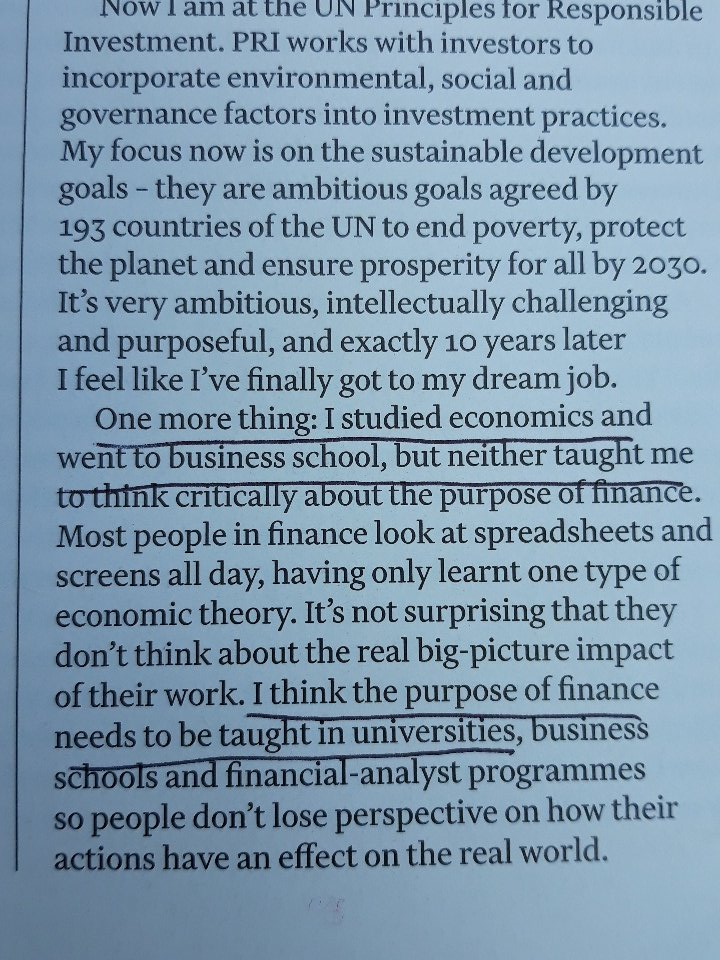 Music to the ears of @MazzucatoM and @rethinkecon? I think the purpose of finance needs to be taught Kaori Shigiya @ft mag