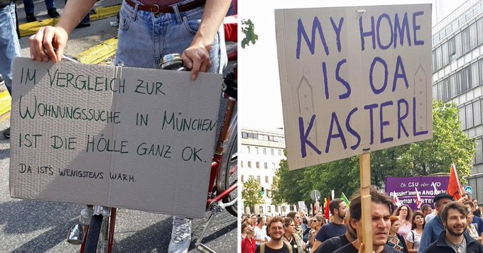 Etwa Münchner sind heute auf die Straße gegangen, um ein Zeichen gegen den Mietwahnsinn zu zu setzen. Das sind die schönsten Plakate von der #ausspekuliert-Demo: Foto