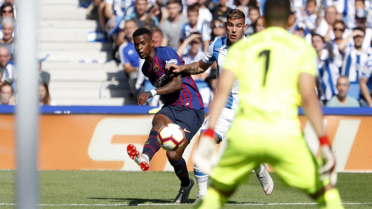 🔄 46: Change at half time for Barça 🔼 Coutinho 🔽Semedo #RealSociedadBarça