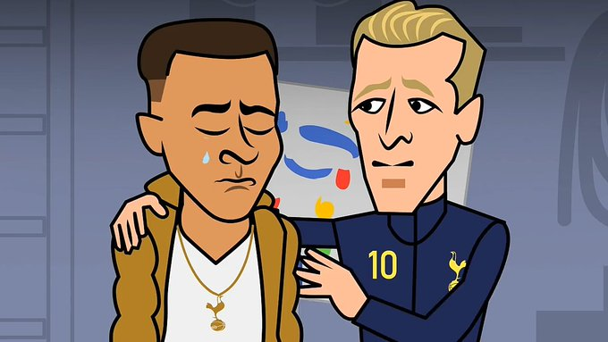 Harry Kane consoles Debbie Alli after their capitulation today. Photo