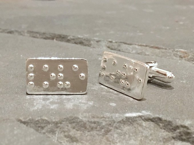 LOVE in Braille Cuff links in Sterling Silver, Blind Gift, Braille Jewelry, Wedding Day Jewelry, Jewelry for Grooms, Love Cufflinks #SilverSculptor #GroomsmenCufflinks Photo