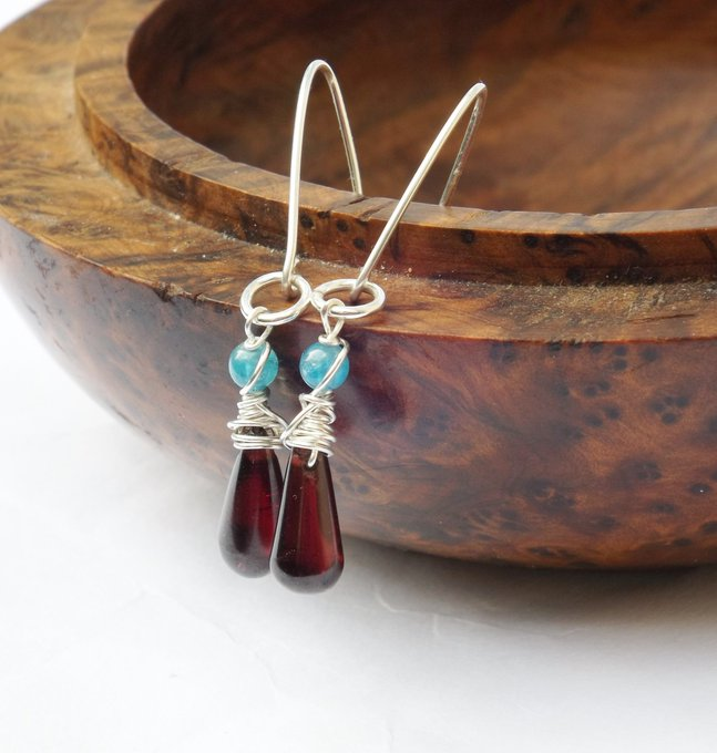 Excited to share the latest addition to my #etsy shop: Antique red garnet glass earrings, 1900 vintage glass, bright blue shell, sterling silver, drop earrings, wir Photo