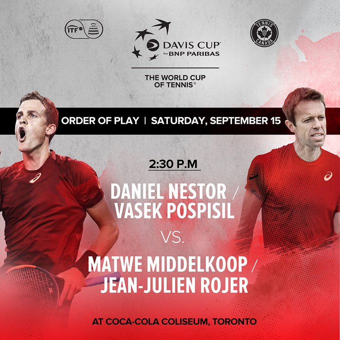 The end of an era. Daniel Nestor will play his final professional match today alongside Vasek Pospisil as Canada looks to clinch victory over the Netherlands in #DavisCup action. Come out and #ShowYourColours 🇨🇦 Photo