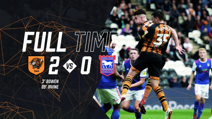 FULL TIME Hull City 2-0 Ipswich Town It's back to winning ways thanks to goals from Bowen and Irvine! #hcafc | #theTigers Photo