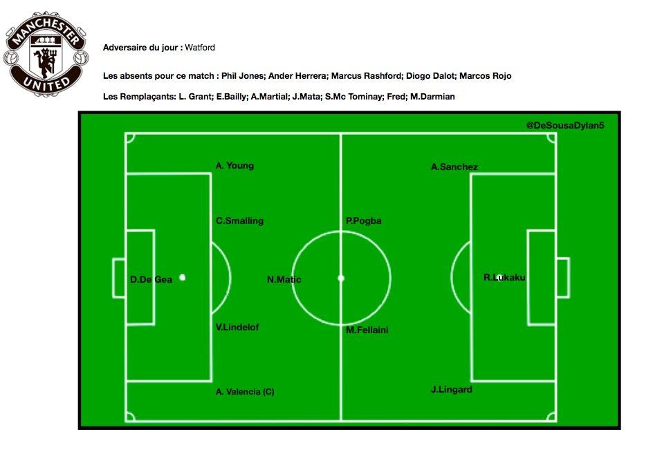 Composition de @ManUtd contre @WatfordFC #MUFC #PremierLeague #Mourinho #Pogba  - FestivalFocus