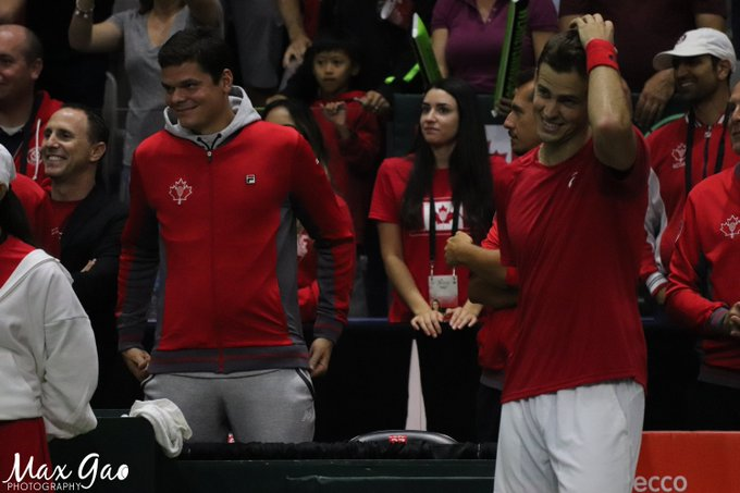 I know both @milosraonic & @VasekPospisil consider Daniel Nestor to be more of a close friend than a mentor now, but it would be wrong to not acknowledge the kind of influence he had on the careers of these two amazing players. What a moment this was for all of them. #DavisCup Photo