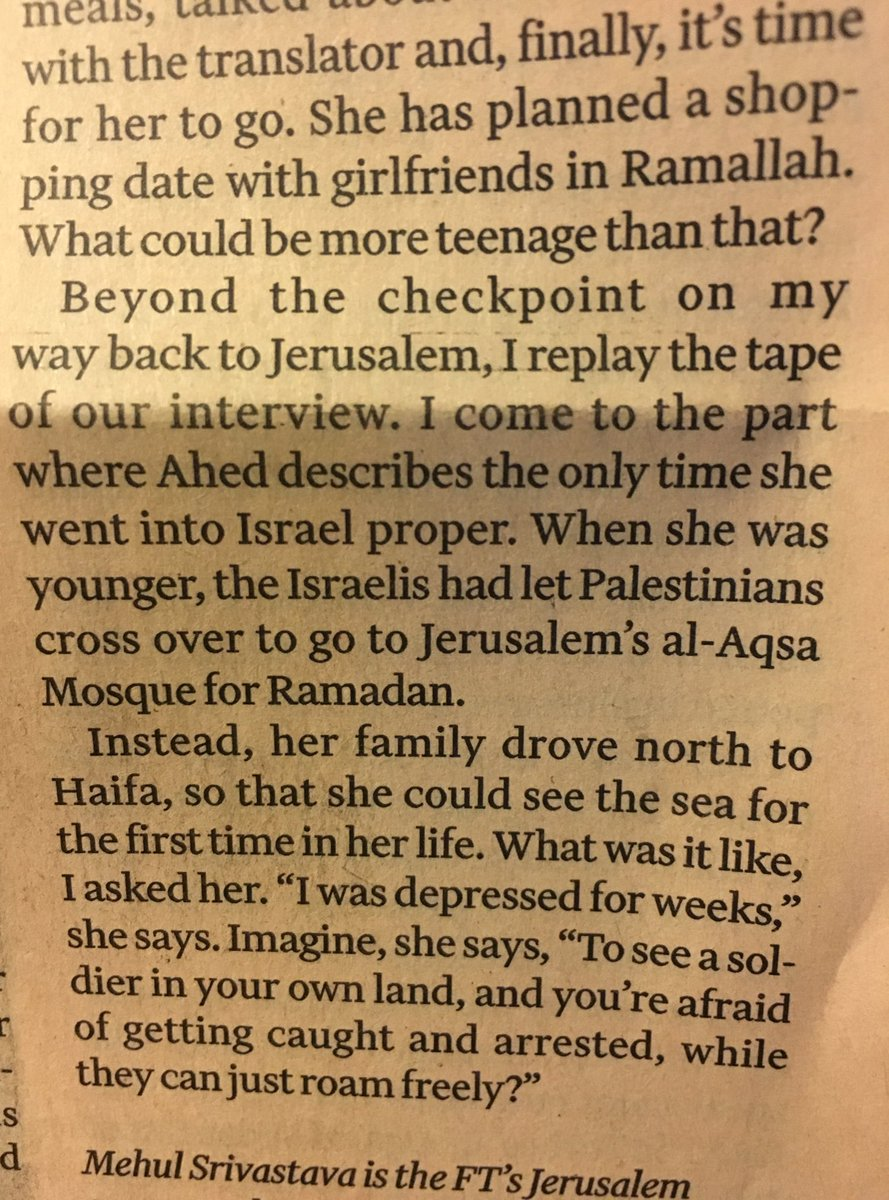 From today's Lunch with the FT - Ahed Tamimi