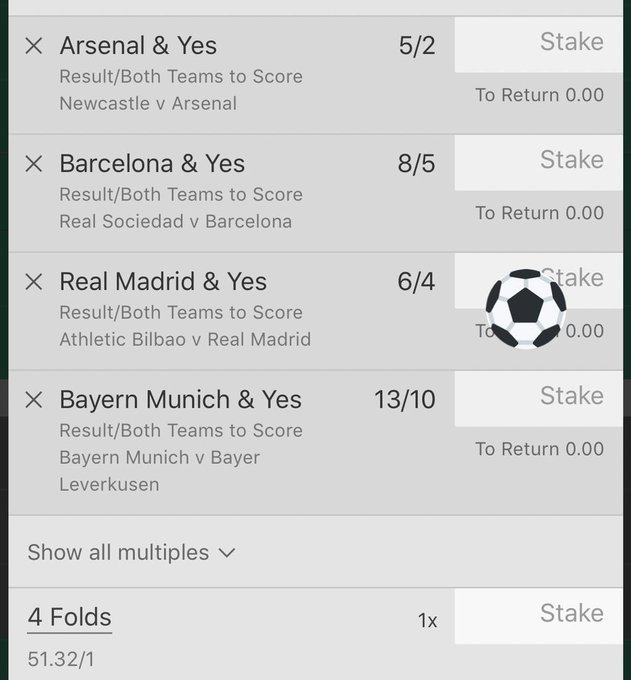 So close yet so far 💸 Did any1 cash🤣 Bayern 3-1✅ Arsenal 1-2✅ Barce 1-2✅ R Madrid 1-1👎🏼 50/1 and 15/1 close but lost BTTS 4-FOLD VIP WINNER✅ 7/1 BTTS 4-FOLD VIP - 7 teams score! - OFF BY FIORENTINA👎🏼 CORNER TREBLE / 2 SELECTIONS FLY IN/ LYON GAME LET DOWN👎🏼 Photo