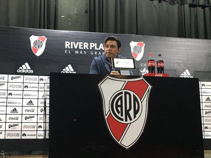 #River Marcelo Gallardo, sobre la jugada del primer gol en el que a Lucas Pratto se le fue la pelota por la línea de fondo: No pude ver las imágenes, no puedo omitir una opinión. Foto