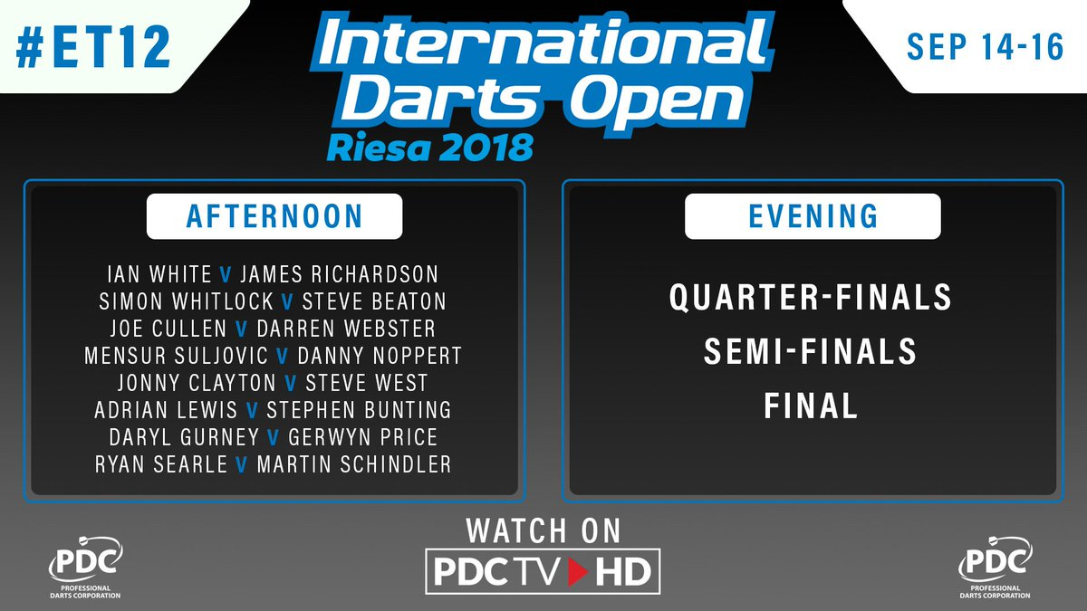 SCHEDULE   Heres whats in store on the final day of the International Darts Open. 📺 Tune into PDCTV-HD tomorrow from 12pm BST to watch the final day of action from #ET12. ▶️ Results & streaming info: pdc.tv/node/7735