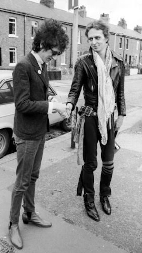 1979 and NMEs Nick Kent congratulates John Cooper Clarke after the latter just pipped him to the title of Britains Thinnest Junky.