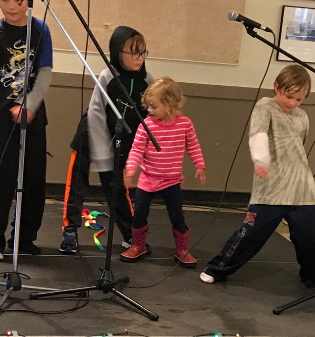 Flossing at the Riverdale Community Hall during festivities for @EFCL Day plus poetry, story telling & local beverages #yegCLDay18 Photo