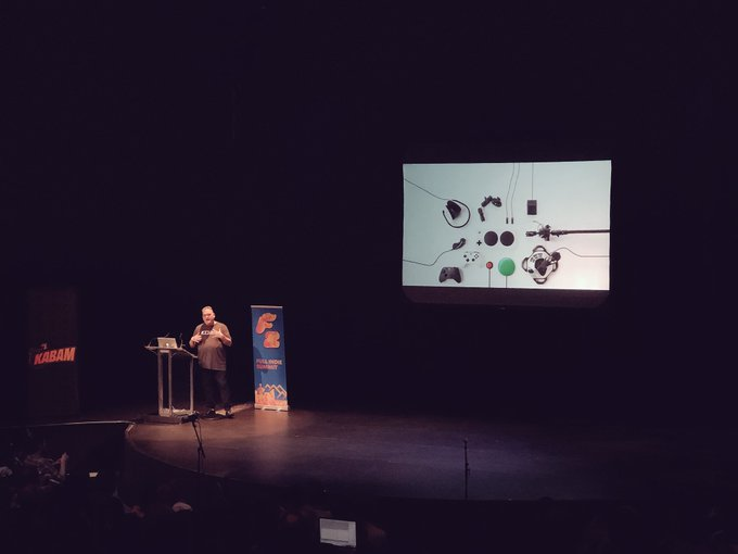 Well, @brycej just killed it. Many cheers for the end of his talk on the Adaptive Controller. Our industry in 2018 is magical. We're hitting the high notes dev friends 💙 #FullIndieSummit Photo