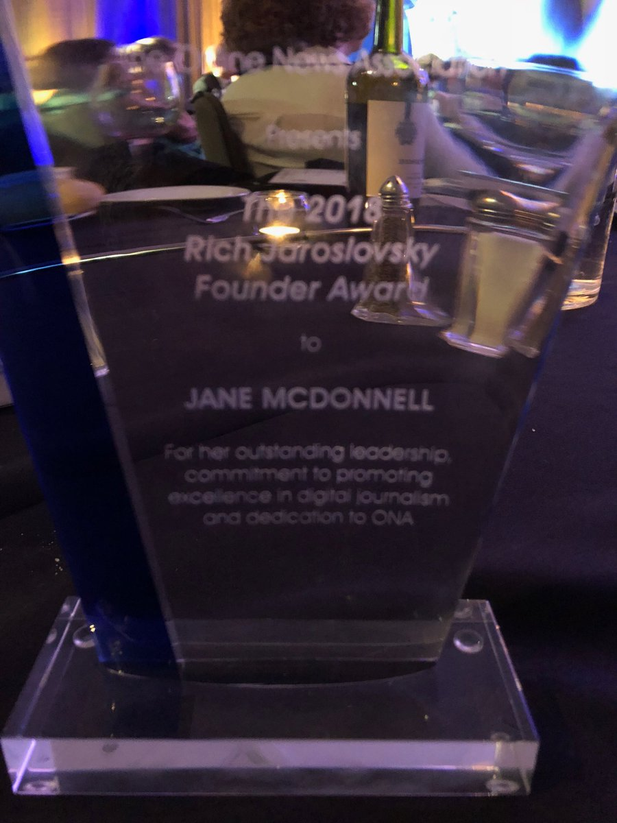 Getting this for doing something you love so much is almost criminal. But I'll take it. Thank you, @ONA #OJA18. And journalists, I  you. <br>http://pic.twitter.com/aG4s8ql2ra