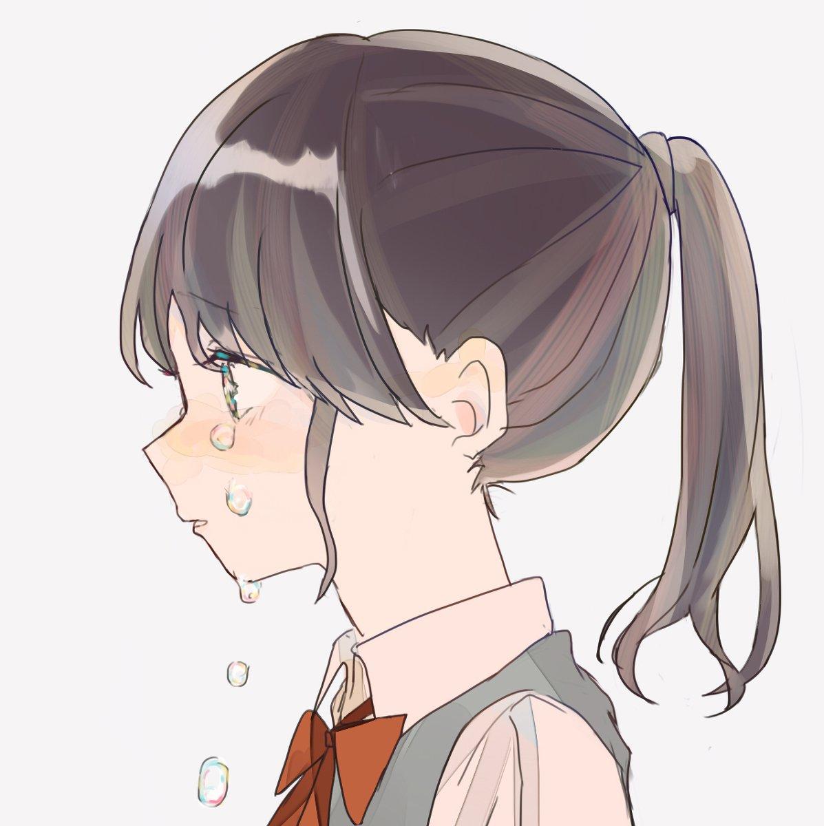 静画 横顔 かわいい 女の子 イラスト アイコン
