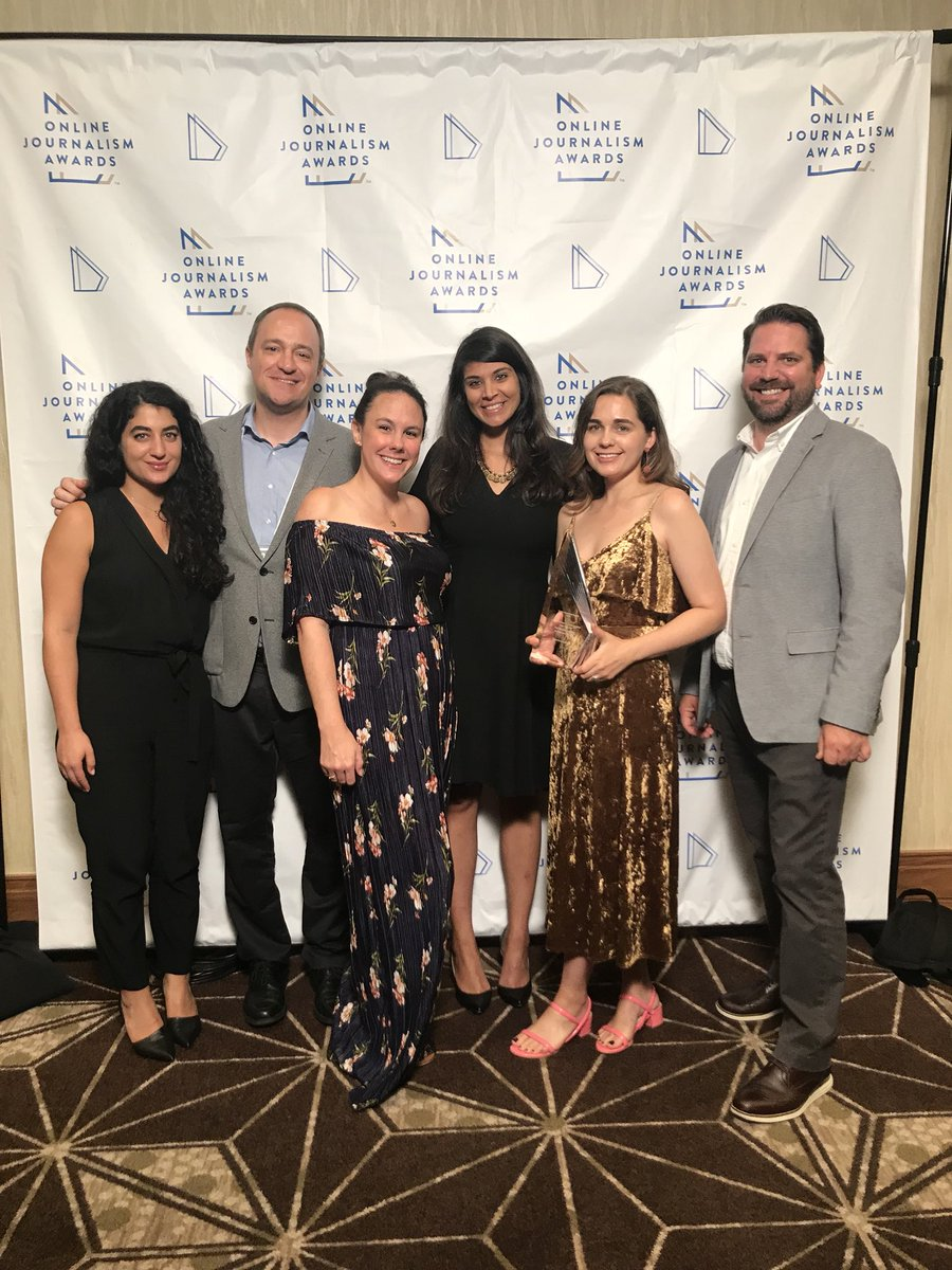 The Emerging News Products team + Nadine at #ona18. We just won the award for general excellence  for a great year by many at the @washingtonpost and @thelilynews.<br>http://pic.twitter.com/tQjizwhA3m