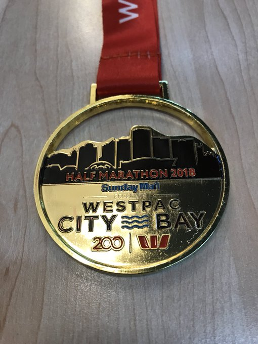 It felt like I ran the last 10 kms over a bed of nails, or maybe even hot coals @Cornesy12 but it was worth it in the end. I won't walk for a month though 😬. Congrats to all the participants and organisers for a great event. #CityBay Photo