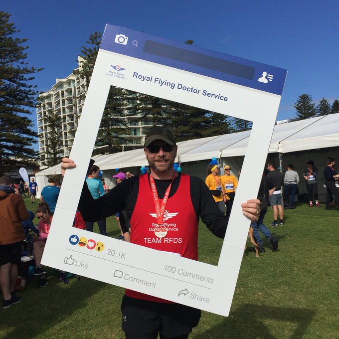 Congratulations David Savige - first member of Team RFDS over the finish line at the #CityBay2018 #CityBay Photo