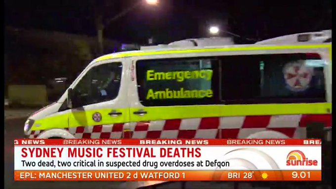 Two people have died and two others are fighting for life, after suspected drug overdoses, at the Defqon music festival in Sydney. Paramedics began treating multiple patients after they collapsed at the event at Penrith around 9pm last night. #7News Photo