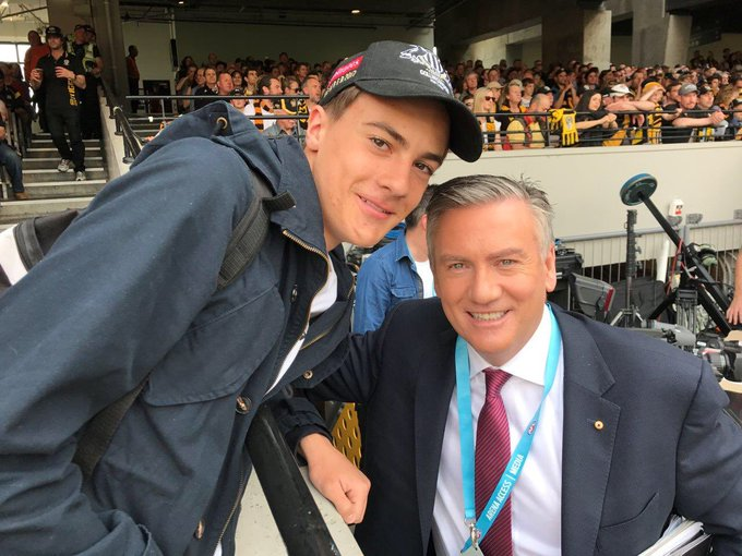Eddie with my son at last years PF just before he told us @CollingwoodFC will be at the 2018 prelim (per my tweet last night) #GoPies Photo