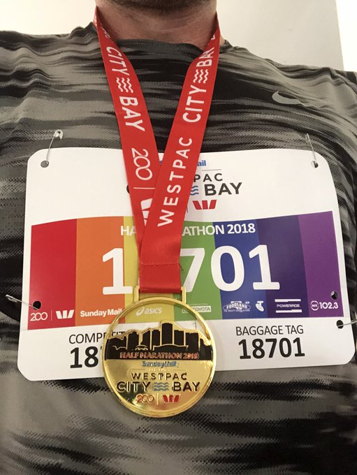 Oh hi! How's your morning? Yeah not too bad. Oh, the medal? Good question! Just thought I'd run a half marathon this morning. Seemed like a good morning for it. Yeah, did OK. Finished in under an hour 50. Can't feel a single thing below my waist. Beer o'clock I reckon. #citybay Photo