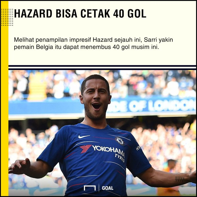 Maurizio Sarri: Eden Hazard Bisa Cetak 40 Gol Photo