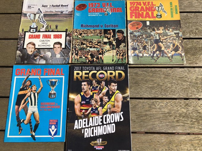 Richmond's last five (winning) Grand Final records. How good would it be to add to the collection? Not taking anything for granted though - the Pies are hungry. 😬 🐯🏆🐯 #AFLTigersPies #GoTiges Photo