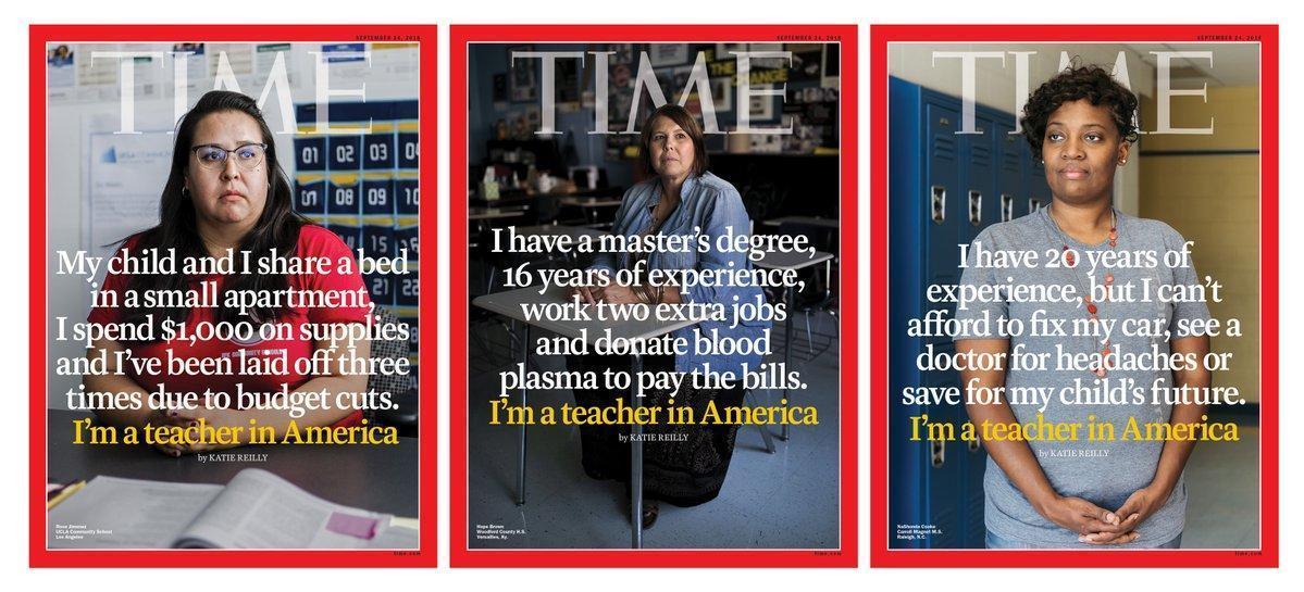 """""""J'ai un master, seize ans d'expérience, deux jobs d'appoint et je donne mon sang et mon plasma pour payer mes factures. Je suis enseignant en Amérique."""" https://t.co/8sRhEE6vVV"""