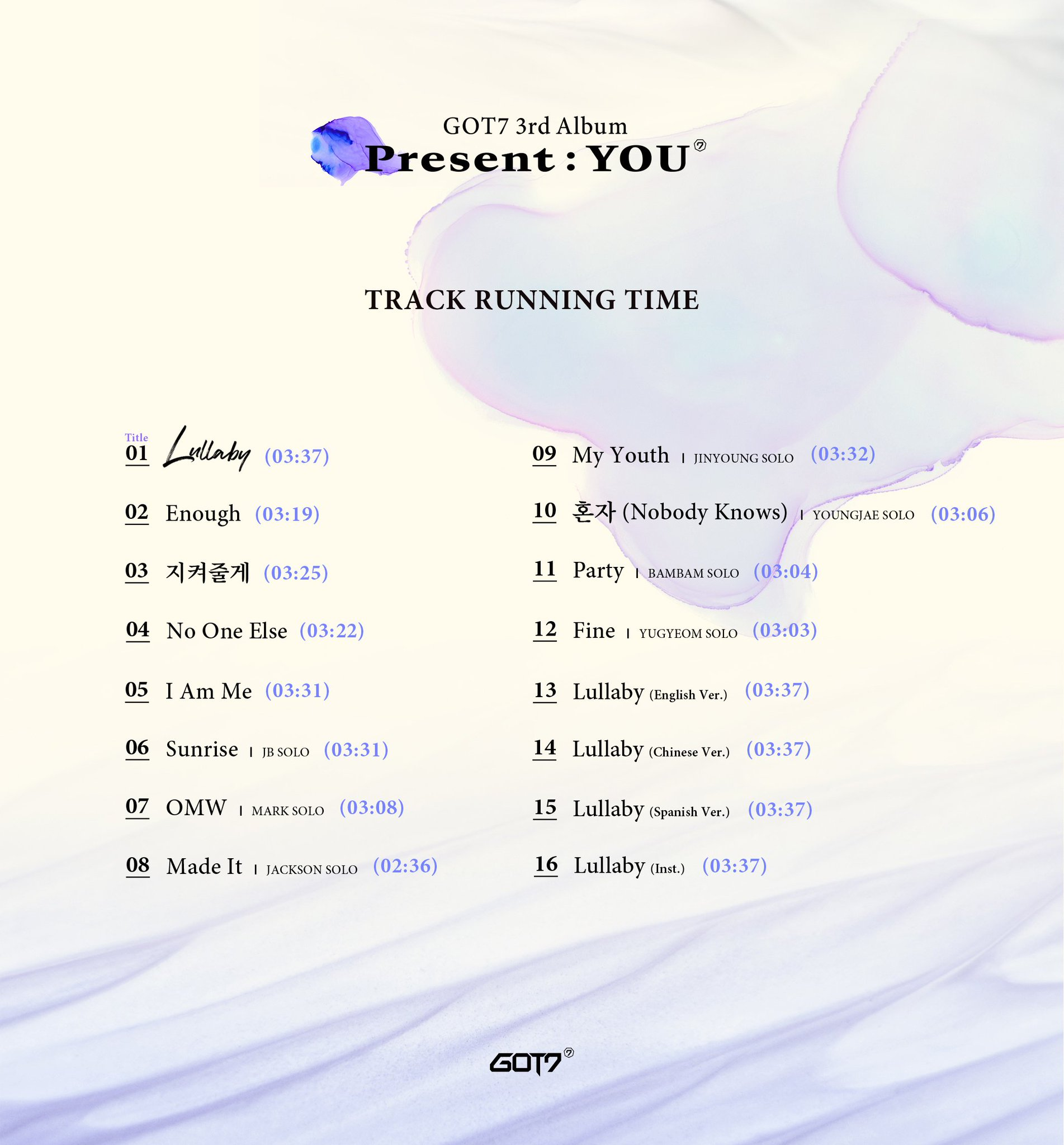 GOT7 3rd Album <Present : YOU> TRACK LIST Ver. 2  2018.09.17 MON 6PM  #GOT7 #갓세븐 #PresentYOU #Lullaby https://t.co/57pBaNrFxk