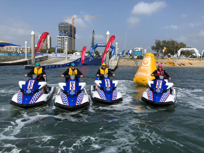 So it turns out competitors are NOT allowed jet skis at the International Triathlon Union Grand Final? Sorry Gold Coast Water Police, you were making such good time too! #NewWorldRecord #WTSGoldCoast Photo