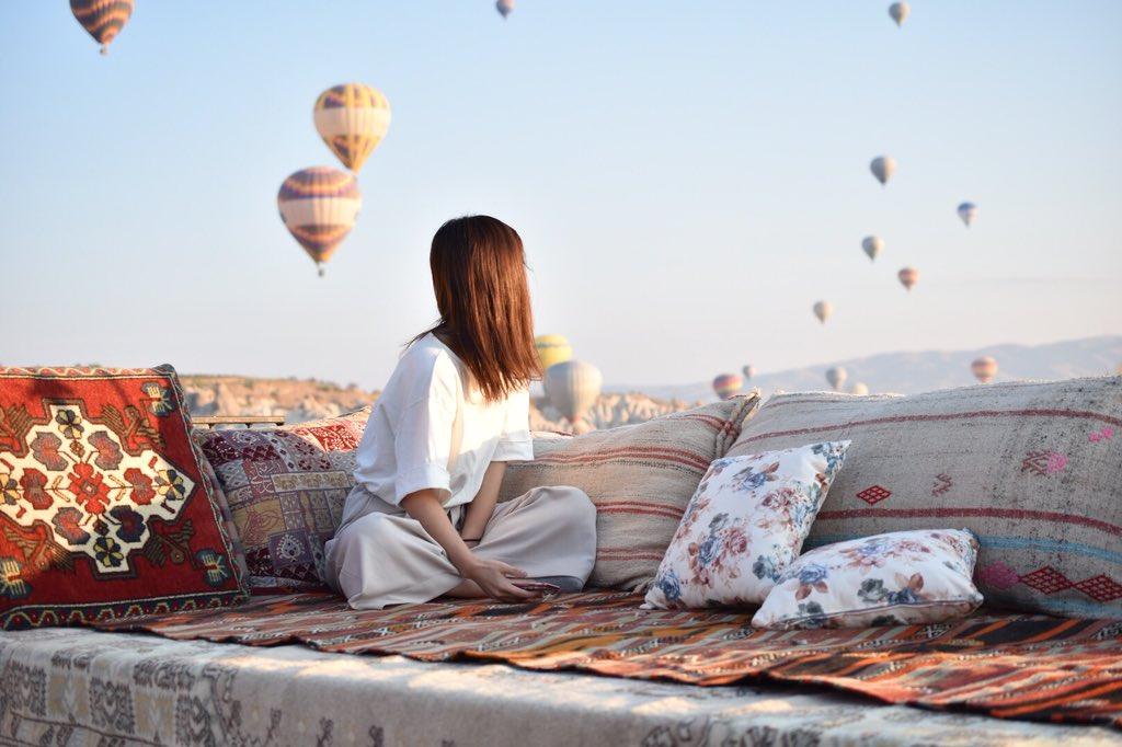 わたくしが夢にまでみたカッパドキア、ギョレメ地区と気球です。夢みたいでこれは本当に絶景。写真じゃ伝わらない。