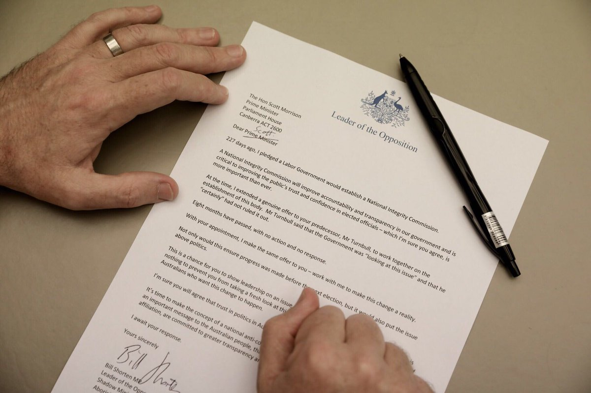 People have lost faith in politics. It's time to change that. I have written to Scott Morrison asking him to support my proposal for a National Integrity Commission.