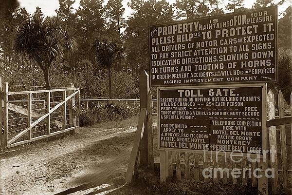 Toll Gate To 17 Mile Drive Pebble Beach California Circa 1910