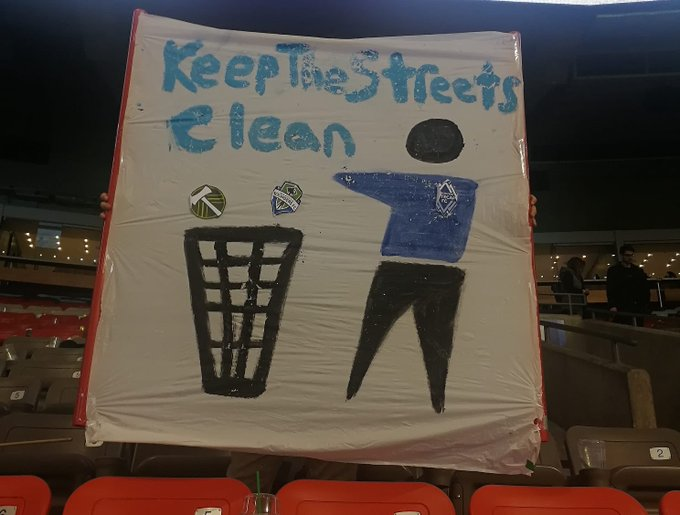 "Our first ""Tifo"" at BC Place. Keep the Streets Clean. #VWFC Hope you saw it 😂 Photo"