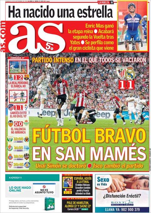 Prueba de agudeza visual: averiguar en menos de 5 segundos dónde pone en la portada de AS que el Barça es líder en solitario de la Liga con 2 y 7 puntos de ventaja al Madrid y Atlético. Photo