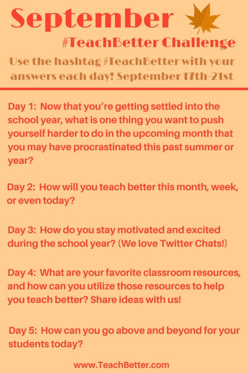 Our September #TeachBetter Challenge is coming up on Monday! RT and share to your #PLN!