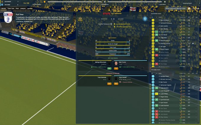 👌🏼| @southport_fc 1-0 @wwfcofficial. How was this only 1-0? That's the only thing I have to complain about after this one. We were fantastic in every area, bar in front of goal. #FM18 Photo